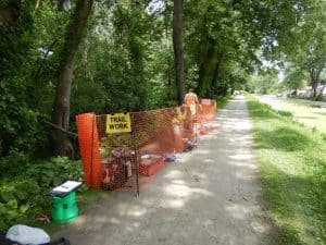 site of unit excavation along towpath of the ohio and erie canal